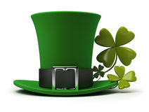 St Patricks hat and clover Stock Photos