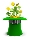 St Patricks hat with coins and clovers. 3d image. Isolated white background stock illustration