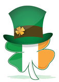 St. Patricks hat with irish clover illustration Stock Photos