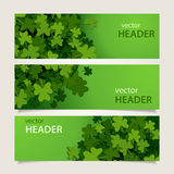 St patricks headers. Set of green headers with clover leaves and banners for St. Patrick's Day, vector illustration Stock Photography