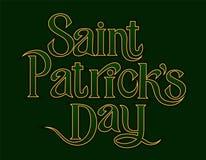 St Patricks het gouden van letters voorziende element van Daggroeten op groene achtergrond royalty-vrije illustratie