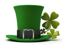 St Patricks hoed en klaver Stock Foto's