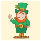 St. Patricks Leprechaun in top-hat alone vector illustration