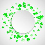 Shamrock background for Saint Patricks Day. St patricks paper plate with shamrock. Lucky trefoil confetti. Glitter frame of clover leaves. Template for party Stock Image