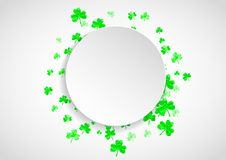 Shamrock background for Saint Patricks Day. St patricks paper plate with shamrock. Lucky trefoil confetti. Glitter frame of clover leaves. Template for poster Stock Images