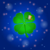 St Patricks`s shamrock and hat into space Royalty Free Stock Photo