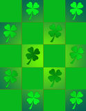 St. Patricks Stain Glass. Checker pattern with shamrocks in St. Patty's favorite shades of green Royalty Free Stock Images