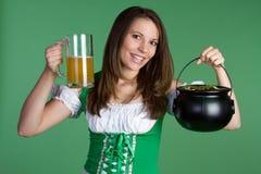 St Patricks Woman. Happy st patricks day woman Royalty Free Stock Photos