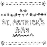 St. Patriks Day Lettering Poster or Card with Clovers and Hearts Cartoon Style. Outline. royalty free illustration