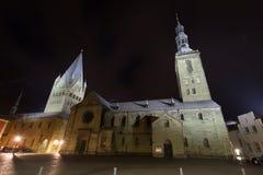 St patroklidom en st Petri kerk meest soest Duitsland in de avond Royalty-vrije Stock Foto's