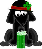St Patty's Day Dog. Comical dog wearing bowler hat with four-leaf clover gazes in rapture at mug of green beer vector illustration