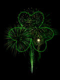 St. Patty's fireworks display. St. Patrick's Day Fireworks display in green Royalty Free Stock Photo