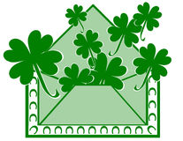 St. Patty's Letter. Rendering of St. Patrick's day envelope bursting with shamrocks stock illustration