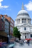 St Paul's Cathedral. With motioned blurred people walking in front Stock Photography