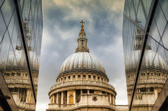 St Paul's Catherdal dome reflected Stock Images