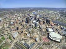 St Paul è il Campidoglio dello stato del Minnesota visto da sopra nel fuco fotografie stock libere da diritti