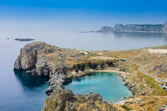 St. Paul bay blue lagoon in Lindos Stock Photography