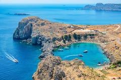 St Paul Bay Lindos Rhodes, Grekland Arkivbilder
