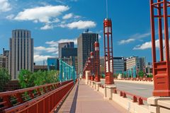 St. Paul Bridge walkway. A picture of walkway in St. Paul leading to skyline Stock Images