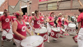 St Paul Carnival, drumming stock footage