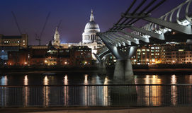 St Paul Cathedral and millenium bridge by night. Royalty Free Stock Photo