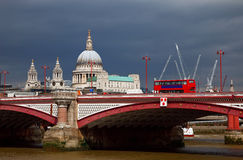 St. Paul Cathedral and Blackfriar's Bridge. Over dark sky. London Royalty Free Stock Image
