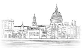 St Paul Cathedral, Londen, het UK Cityscape achtergrond royalty-vrije illustratie