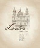 St. Paul Cathedral, Londen, het UK.  Etiket van de reis het beroemde stad. Stock Fotografie