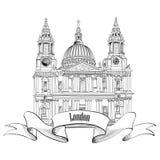 St. Paul Cathedral, London, UK.  Berömd stadsetikett för lopp. Fotografering för Bildbyråer