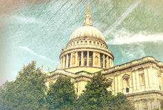St Paul Cathedral in London, vintage view Royalty Free Stock Photos