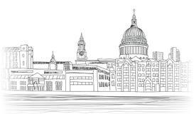 St Paul Cathedral, Londra, Regno Unito Fondo di paesaggio urbano royalty illustrazione gratis