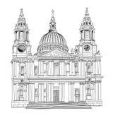 St Paul Cathedral, Londres, R-U. Église d'isolement sur le fond blanc. illustration stock