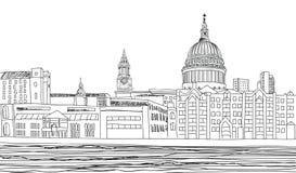 St Paul Cathedral, Londres, R-U. Fond de paysage urbain. illustration stock