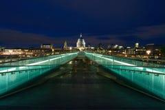 St Paul Cathedral and millennium bridge, London. Stock Image