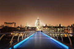 St. Paul Cathedral and millennium bridge, London Royalty Free Stock Photography