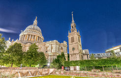 St Paul Cathedral at night in London Royalty Free Stock Photo