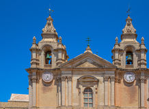 St Paul Cathedral Towers. Detail of the St Paul's cathedral towers in the city of Mdina in Malta Royalty Free Stock Photos