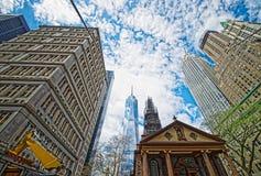 St Paul Chapel in Financieel District in Lower Manhattanny royalty-vrije stock fotografie