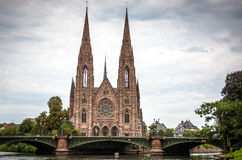 St. Paul Church from the Ill river in Strasbourg, Alsace Stock Photography