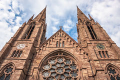 St. Paul Church from the Ill river in Strasbourg, Alsace Stock Image