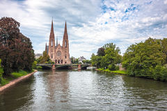 St. Paul Church from the Ill river in Strasbourg Stock Photos