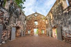 St Paul de Kerk is een historisch kerkgebouw in Malacca Stock Foto's