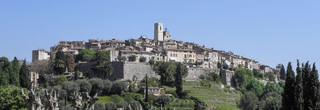St Paul De Vence. View from a valley of the walled city of St Paul De Vence Stock Photo