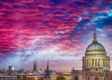 St Paul Dome Cathedral in London, view at sunset Royalty Free Stock Photos