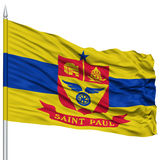 St Paul Flag on Flagpole, Waving on White Background Stock Photos