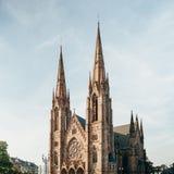 St Paul Kirche am Abend, Straßburg Lizenzfreie Stockfotos