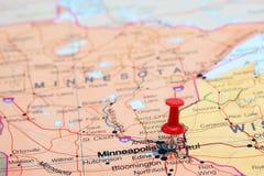 St Paul klämde fast på en översikt av USA Arkivbilder