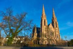 St Paul kościół od Chorej rzeki w Strasburg, Alsace, Francja Zdjęcia Stock
