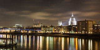 St Paul and Millennium Bridge. Night view of London from the south bank Royalty Free Stock Images