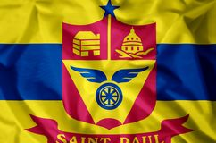 St. Paul Minnesota. Stylish waving and closeup flag illustration. Perfect for background or texture purposes stock illustration
